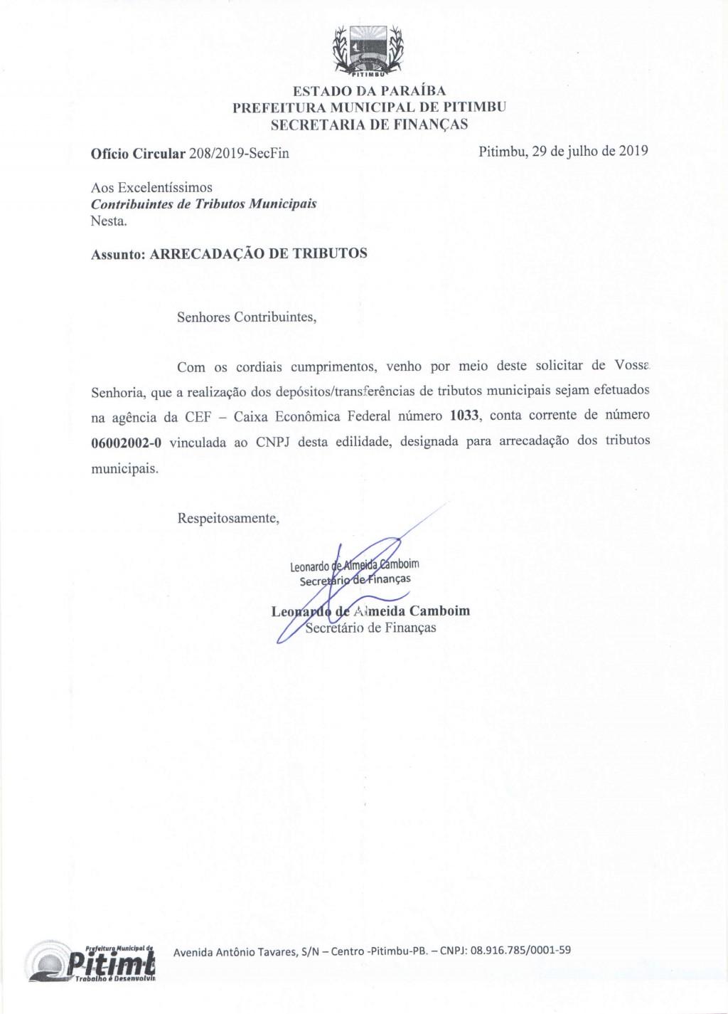 Ofício Circular 208/2019 - Secretaria de Finanças (Assunto: Arrecadação de Tributos)