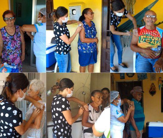 Secretaria de Saúde de Pitimbu vacina idosos contra gripe em suas casas