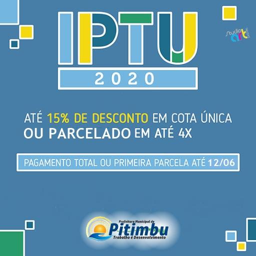 Prefeitura municipal de Pitimbu prorroga pagamento do IPTU