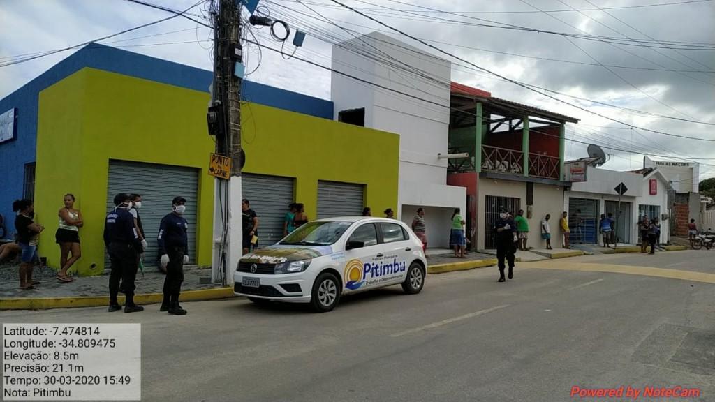 Coronavírus: Prefeitura de Pitimbu auxilia na organização de fila em Casa Lotérica